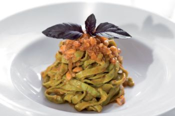 Green tagliatelle with gurnard Bolognese