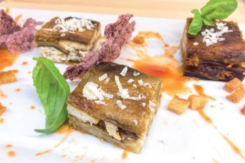 Parm with beltfish, aubergines and provola