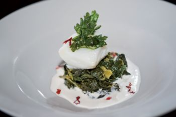 Cuore di baccalà on hedgehog of broccoli with parmesan fondue and chili peppers