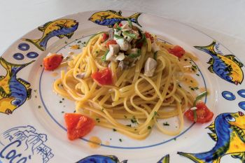 Linguine with green chilies and dolphinfish