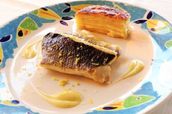 Mullet from maronti flavored with lemon and potato mille-feuille